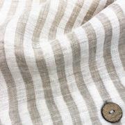 Bettwaesche Leinen beige gestreift Detail