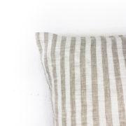 Kissen Ida Leinen beige gestreift Detail